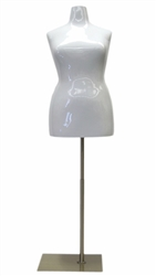 Glossy White Female Torso Dress Form Plus Size 18/20