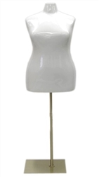 Glossy White Female Torso Dress Form Plus Size 22/24