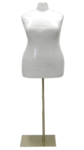 Glossy White Female Torso Dress Form Plus Size 2224