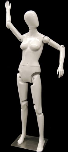 Fully posable female mannequin in white with an egghead. She can sit or stand for maximum flexibility in your displays.
