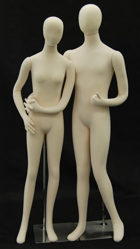 Economical Flexible Mannequin Couple in Beige / Tan Color
