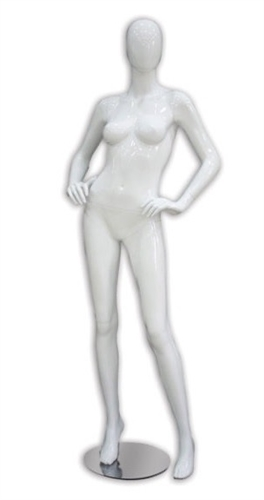 Glossy Female Mannequin with Abstract Egghead in choice of 5 glossy colors