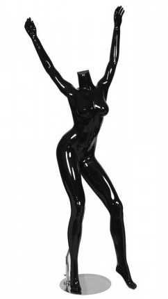 Glossy Black Headless Female Mannequin with Arms Up