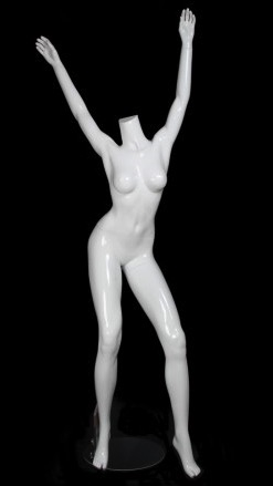 Glossy White Headless Female Mannequin with Arms Up