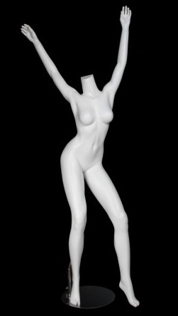 Matte White Headless Female Mannequin with Arms Up