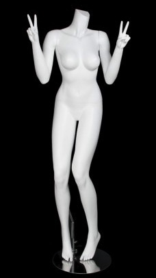 Matte White Female Headless Mannequin Holding Up Peace Signs