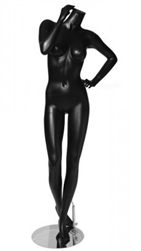 Matte Black Headless Female Mannequin with Hand on Hip