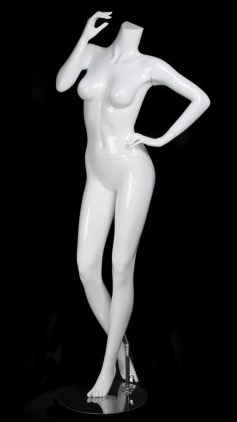 Glossy White Headless Female Mannequin with Hand on Hip