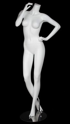 Matte White Headless Female Mannequin with Hand on Hip
