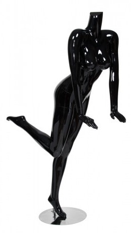 Glossy Black Female Headless Mannequin Leaning Leg Kicked Back