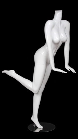 Glossy White Female Headless Mannequin Leaning Leg Kicked Back