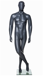 Grey Abstract Male Mannequin - Legs Crossed