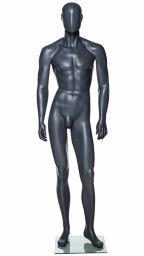 Grey Abstract Male Mannequin - Left Leg Bent