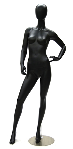 Female Egghead Mannequin in Satin Black