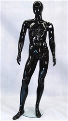 Egghead Male Mannequin with a glossy black finish.