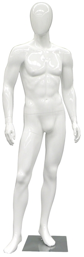 Egghead Male Mannequin with a glossy white finish.