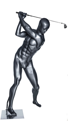 Glossy Gray Male Swinging Golfer Sport Mannequin
