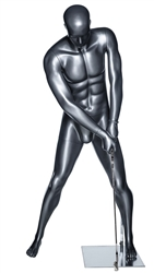 Glossy Gray Male Putting Golfer Sport Mannequin