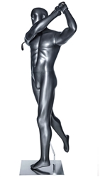 Glossy Gray Male Follow Through Swing Golfer Sport Mannequin