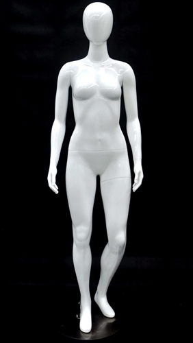 Glossy White Petite Female Egghead Mannequin - Left Leg Bent