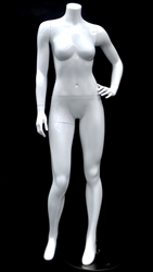 Petite Glossy White Headless Female Mannequin Left Hand on Hip