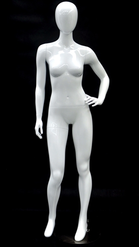 Glossy White Petite Female Egghead Mannequin - Left Hand on Hip