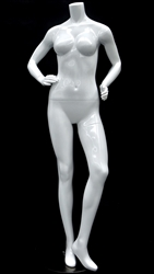 Petite Glossy White Headless Female Mannequin Hands on Hips