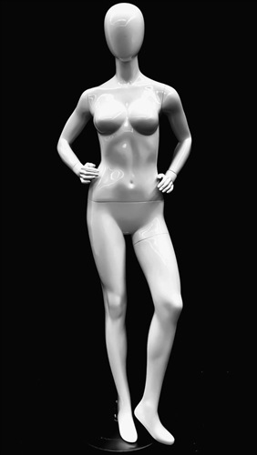 Glossy White Petite Female Egghead Mannequin - Hands on Hips