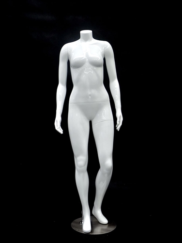 Petite Glossy White Headless Female Mannequin Left Leg Bent
