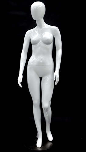 Glossy White Petite Female Egghead Mannequin - Looking Right