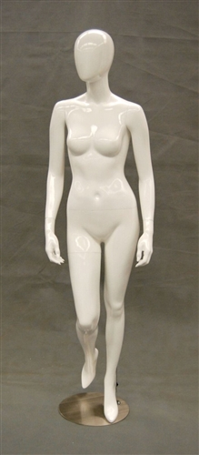 Egghead Glossy White female mannequin with right leg up