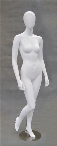 Egghead Matte White female mannequin with right leg up