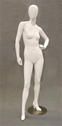 Egghead Gloss White female mannequin with left arm on hip.