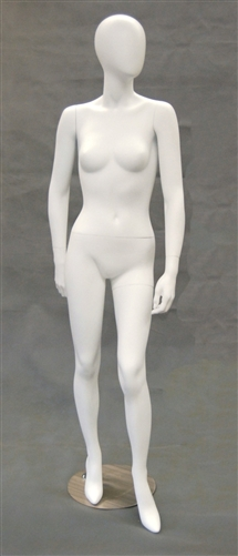 Egghead Matte White female mannequin with left leg out