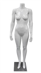Arms at Sides, Straight-On Pose, Female Mannequin Headless in Gloss White from www.zingdisplay.com