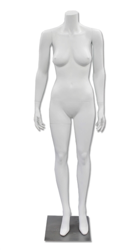 Arms at Sides, Straight-On Pose, Female Mannequin Headless in matte White from www.zingdisplay.com