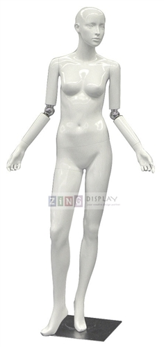 Flexible Elbow Glossy White Female Mannequin