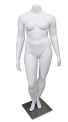 Matte White Headless Plus Size Female Mannequin - Leg Bent