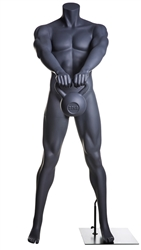 Kettle Bell Lifting Headless Grey Male Mannequin