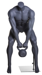 Kettle Bell Lifting Headless Grey Male Mannequin - Squat Pose