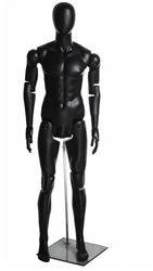 Posable Male Mannequin in Black.  He can sit, stand or kneel for the most unique display you can create.