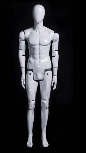 Posable Male Mannequin in White.  He can sit, stand or kneel for the most unique display you can create.