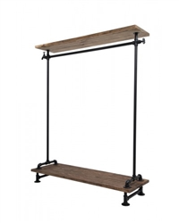 Black Single Rack with Wood Top and Base