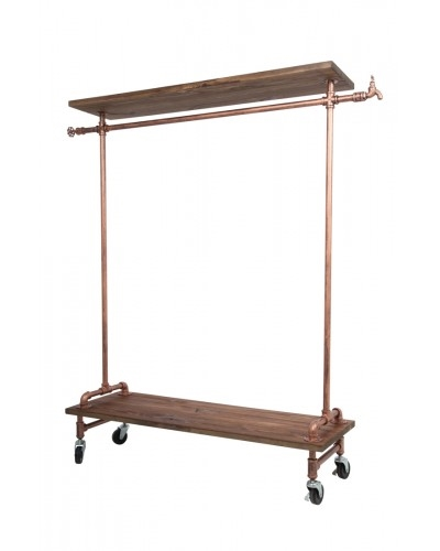 Brass Single Rack with Wood Top and Base