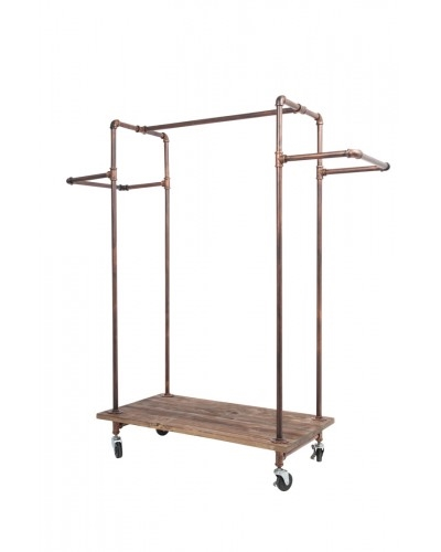 Brass H Rack with Wood Base