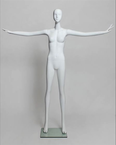 Glossy White Female Mannequin with Abstract Head