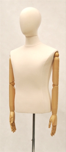 Headless Male Dress Form with Bendable Wooden Arms