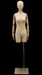Striped Linen Female Dress Form with Poseable Arms