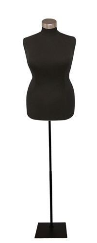 Plus Size Black Jersey Dress Form with base