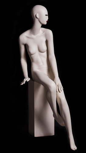 Abstract Female Mannequin with Classic Makeup - Seated Pose